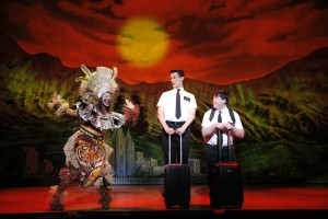 Phyre Hawkins, Mark Evans and Christopher John O'Neill in The Book Of Mormon.  Photo by Joan Marcus.