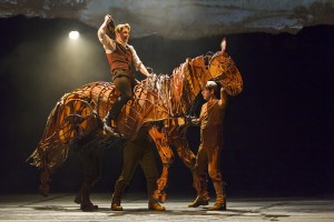 Albert and the Puppeteers in War Horse.  Photo by Brinkhoff/Mogenberg.