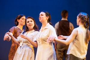 Heather Bunch, Adelin Phelps, Isabel Nelson and Peytie McCandless in Ash Land.  Photo by Aaron Fenster.