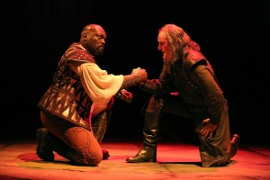 Peter Macon and Stephen Yoakam in Othello.  Photo by Joan Marcus.